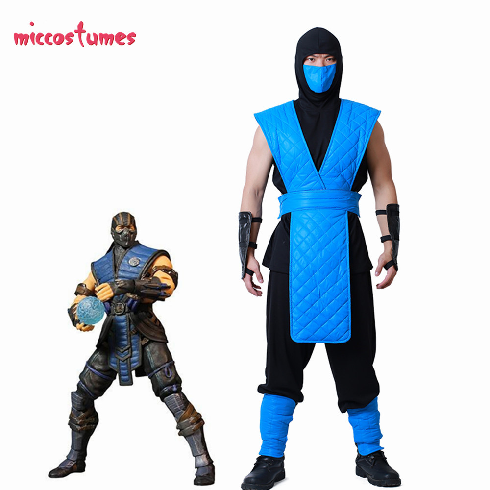 Shotokan Ninja Blue Fighter Halloween Cosplay Costume Mortal Kombat Full Cosplay Set For Men