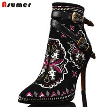 ASUMER High Quality Autumn Winter Women Buckle ankle boots high heels Genuine leather motorcycle boots Ethnic flower lady shoes