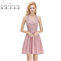 Two Colors Cut out Back Lace Homecoming Dresses with Pearls Sexy V Neck Sleeveless Graduation Dress Vestidos De Festa Curto