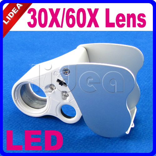 30x 60x Dual Lens Lupa Portable Magnifier With Led Light
