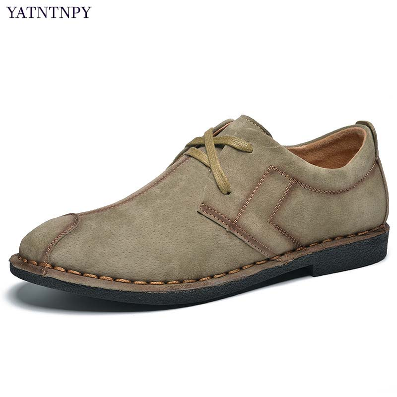YATNTNPY New Style Genuine Cow Suede leather shoes men casual formal dress Shoes Comfort Man Shoes high quality mocassins