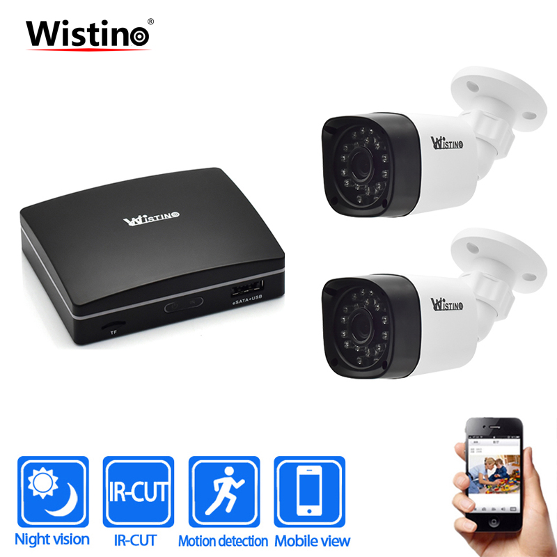 Wistino Outdoor Security Camera 4Ch CCTV NVR Recorder 1080P IP Camera Kits Night Vision Surveillance System Video Monitor Onvif