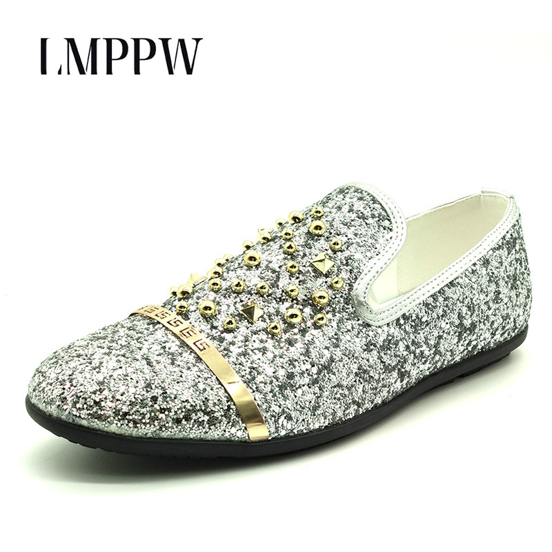 British Style Men Loafers Luxury Brand Fashion Rivet Pu Leather Shoes Moccasins Men Flats Shoes Sequins Black Red Silver 2A luxury brand men genuine leather loafers for driving shoes moccasins gommino fashion rivet men flats shoes loafers zapatos 2a