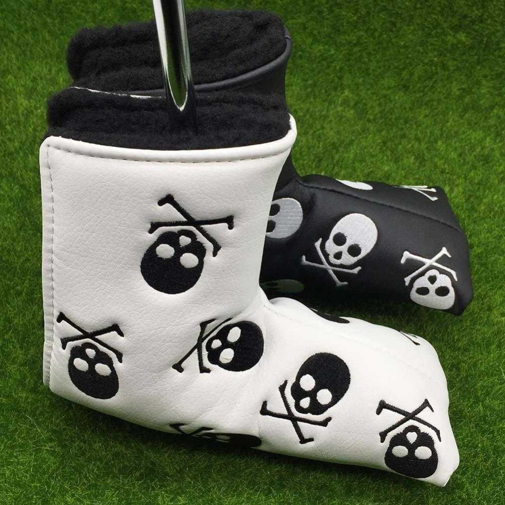 Golf Head Cover Putter PU Leather Skull Club Headcovers Closure Golf Club Putter Covers Black White Colors Putter Cover Blade
