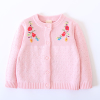 Flower Embroidery Lovely Girls Cardigans Autumn Winter Long Sleeve Knitted Cotton Sweater Kids Outwear Infant Baby