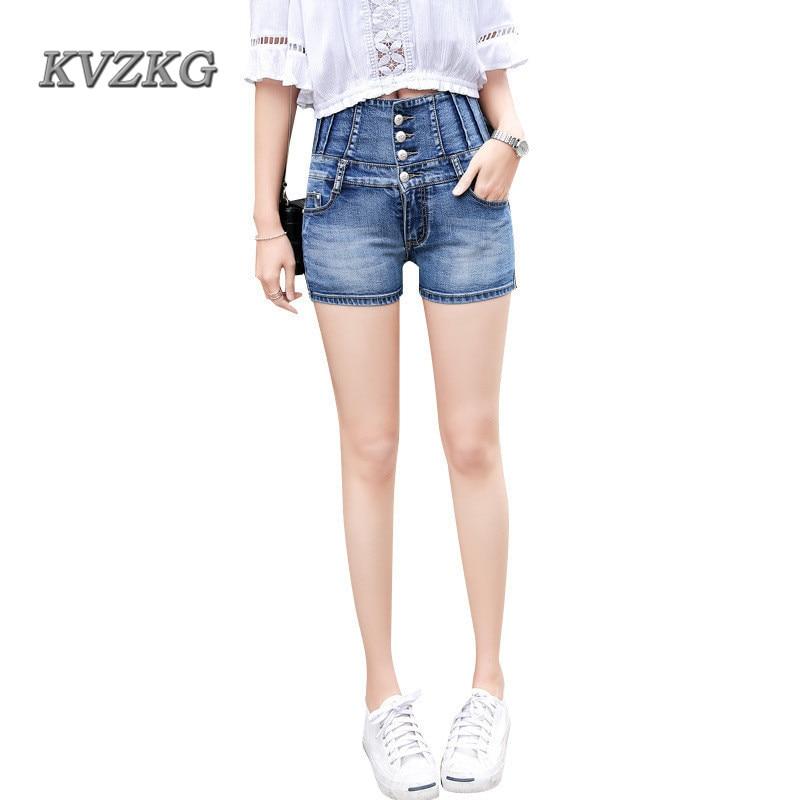 KVZKG 2017 Summer Fashion 4 Buttons Retro High Waist Shorts Feminino Blue Denim Shorts for Women