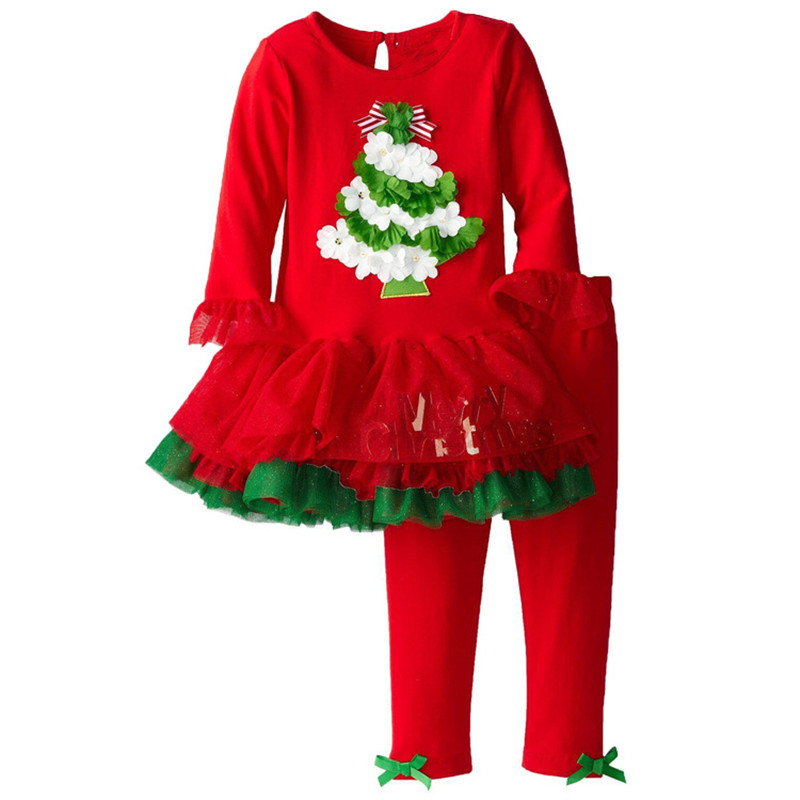 DTZ 500 Christmas tree baby print long sleeve dress children clothes ...