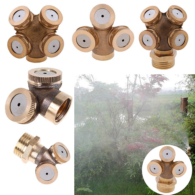 WCIC 4 Hole Adjustable Brass Spray Misting Nozzle Garden Sprinklers Watering Irrigation Fitting Home Gardern Tools