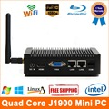 Quad core j1900 plam tamanho mini pc windows 7 dupla lan mini computador com windows mini pc 1080 p hd porta hdmi mini computador Nettop