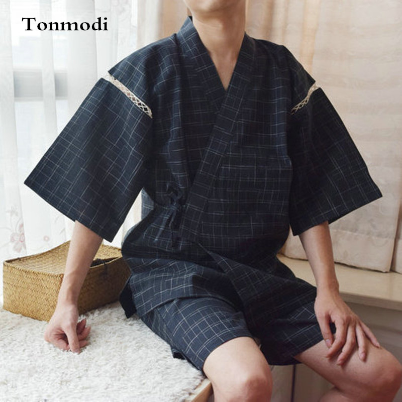 Men's Pajama Sets Kimono Pajamas For Men 100% Cotton Cloth Kimono Stripe Robe Short-sleeve Half Pants Pyjamas Men Lounge Pajama Set