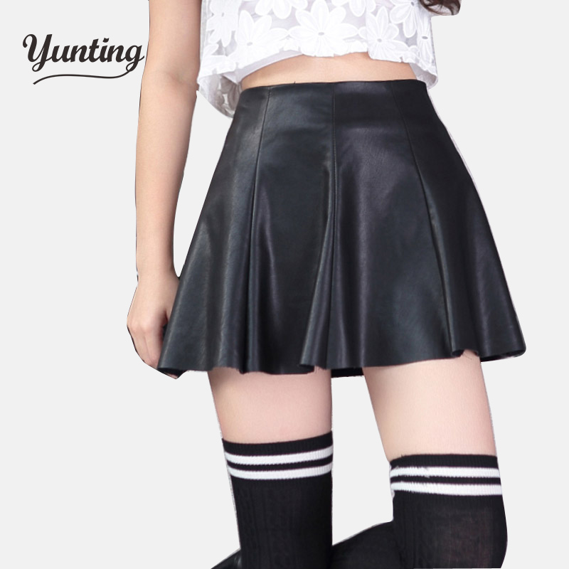 New 2017 Korean Fashion Black Red PU Leather Skirt Women Vintage High Waist Pleated Skirt Free