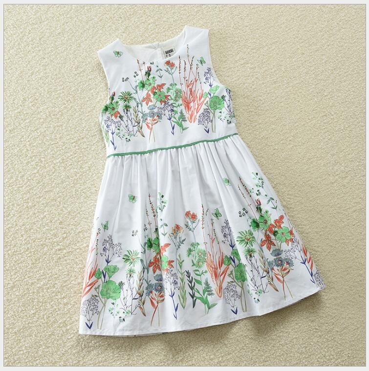 fresh baby girls flower dress children cotton open back summer dress little girls high waist line dress clothing