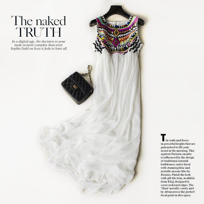 2018 vraie neige blanche filé vacances jupe vent National femme plage longue broderie robe nouveau Style thaïlandais
