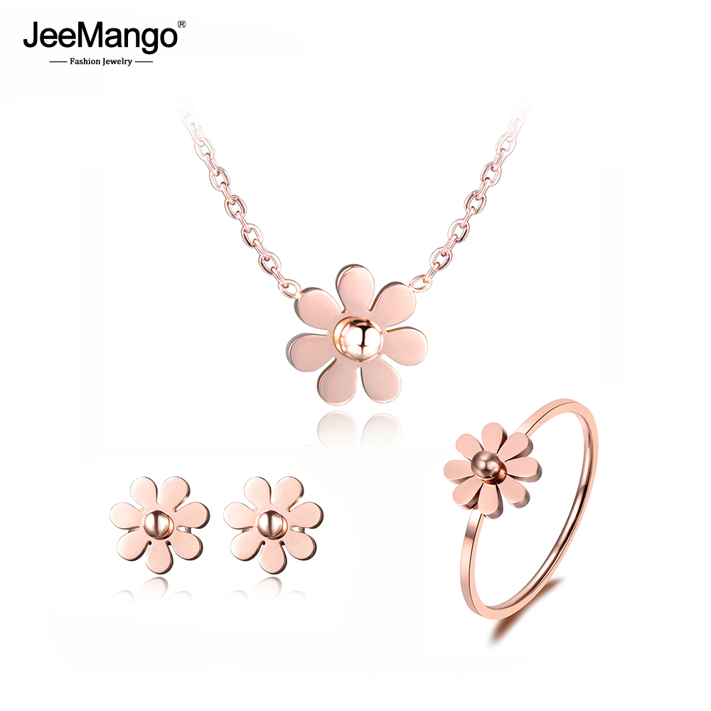 JeeMango Stainless Steel Dazzling Daisy Flower Choker Neckalce Earrings Rings Jewelry Sets Rose Gold Lovely For Women JSE003