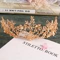 Континентальный барокко Стрекоза короны tiara повязка свадебные аксессуары для волос золотые украшения оставляет женщин Лентой Ручной Работы Диадема