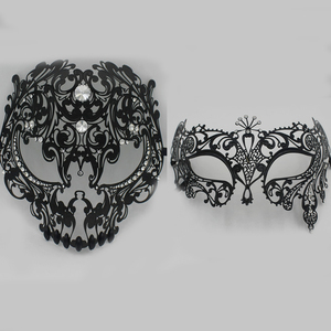 Image 3 - מלא פנים הוונציאני מתכת פיליגרן מסכת גברים נשים גולגולת Masquerade מסכת מסיבת ערכות תלבושות כדור ליל כל הקדושים זוג מסכות סט הרבה