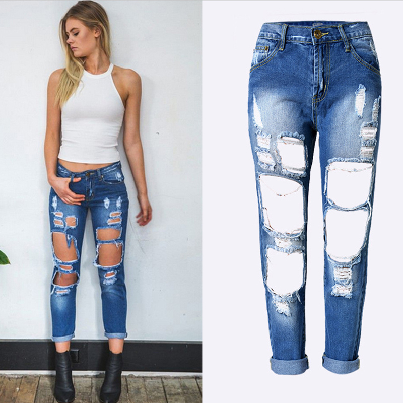 Brandwen Boyfriend Hole Ripped Jeans Pants New Fashion Skinny Pencil Cowboy Trousers Women Vintage Wash Denim Vaqueros Mujer fashion brand women jeans high waisted denim jeans ripped trousers washed vintage big hole ankle length skinny vaqueros mujer