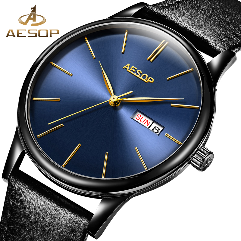 AESOP Simple Watch Men Automatic Mechanical Sapphire Crystal Thin Wrist Wristwatch Leather Band Male Clock Relogio Masculino 27 aesop luxury sapphire crystal watch men automatic mechanical gold wristwatch stainless steel male clock relogio masculino 46