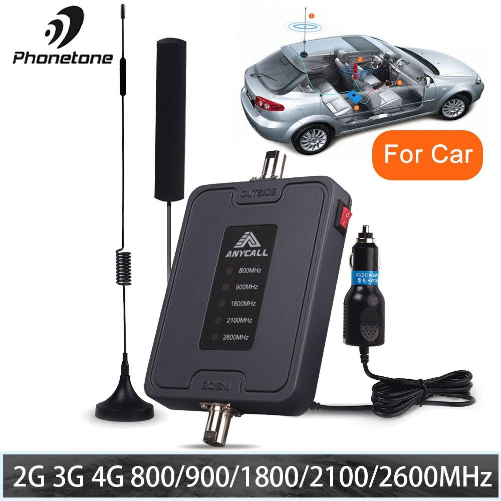 Delle Cellule Del Telefono Mobile Del Segnale Del Ripetitore 800/900/1800/2100/2600 MHz 2G 3G 4G LTE 5 Band 45dB Guadagno Ripetitore cellulare Amplificatore per Auto usa