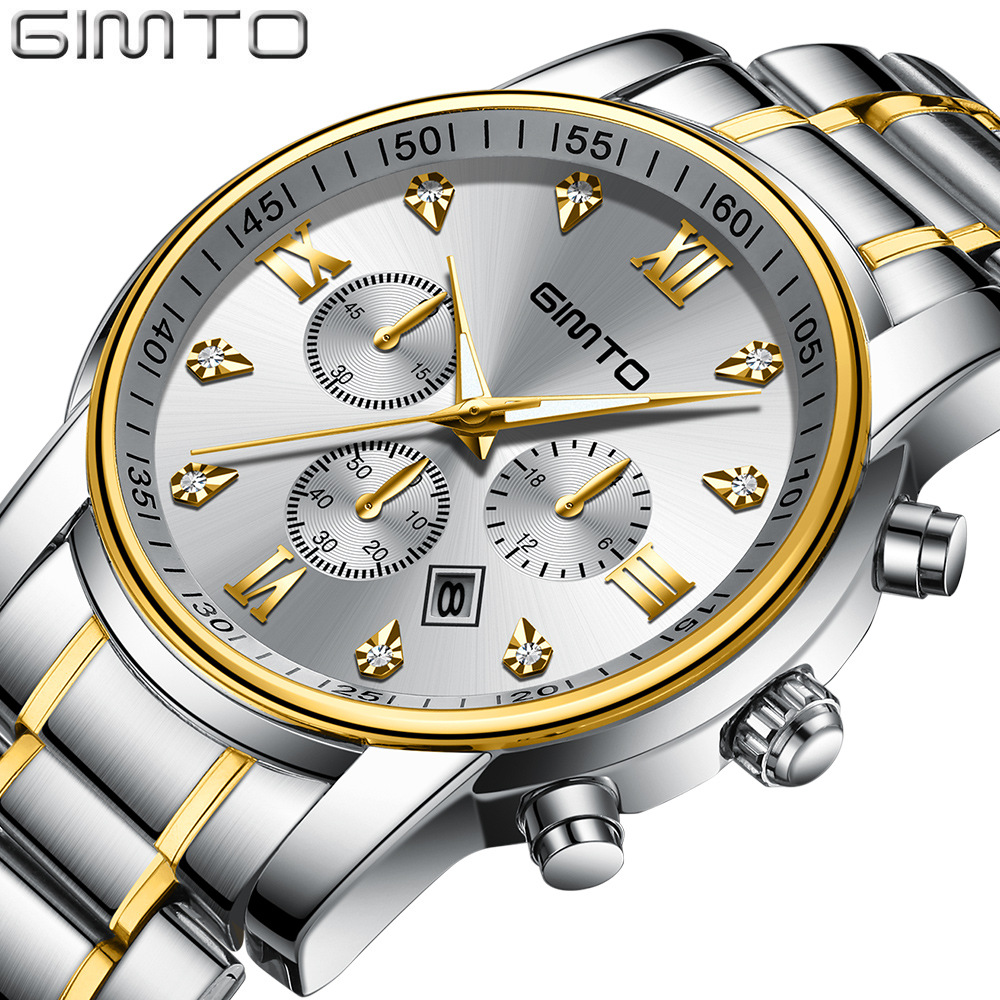 GIMTO New Classic Gold Silver Quartz Watch Men Luxury Business Steel Wristwatch Military Casual Male Watches Waterproof ClockGIMTO New Classic Gold Silver Quartz Watch Men Luxury Business Steel Wristwatch Military Casual Male Watches Waterproof Clock