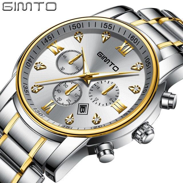 GIMTO New Classic Gold Silver Quartz Watch Men Luxury Business Steel Wristwatch