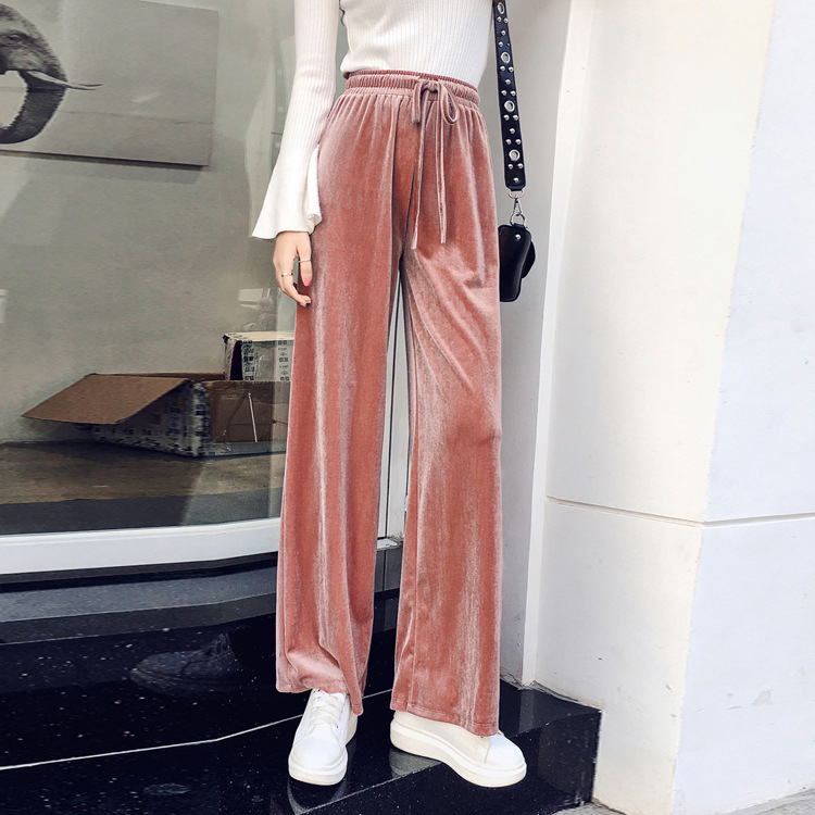 2018 Autumn New Pattern Korean Velvet Leisure Sports Pants Show Thin Wide Leg Woman 2