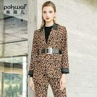 POKWAI Ocean костюм осень двух частей 2018 осень и Новинка зимы Модные леопардовые кружева Для женщин Тонкий Повседневная рубашка брюки