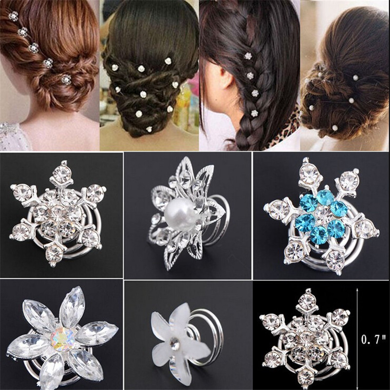 Hair-Pins Jewelry Flower Spiral Crystal Swirl Wedding Bridal 6pcs Plant Fashion Twist