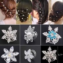 2019 Direct Selling Rushed Plant 6pcs Fashion Bridal Wedding Prom Crystal Flower Hair Pins Swirl Spiral Twist Jewelry Free Ship