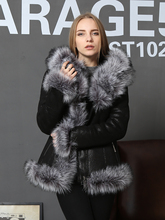 Genuine leather sheepskin edge with Fox Fur trim Fur with skin Warm keeping Women's clothing Overcoat Personalized customization