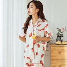 Feier 2 PCS Women Pajama Sets 2019 Summer Short Pyjamas Homewear Strawberry Prints Silk Chiffon Sleepwear Pajamas Shorts