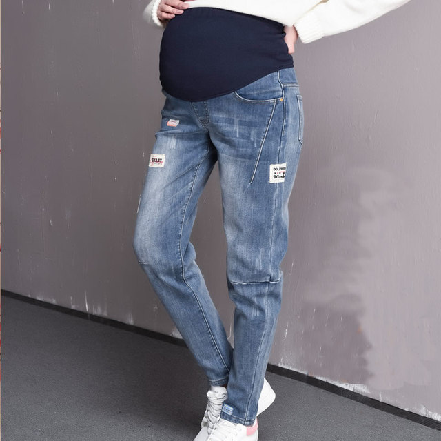 2019 Maternity Jeans Casual pants label pregnant jeans Spring women pencil pants Pregnancy clothing 5XL size high waist trousers