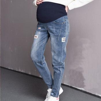 caa457a80 2019 licencia de maternidad Jeans pantalones casuales etiqueta embarazada  jeans primavera falda de las mujeres pantalones de embarazo ropa 5XL tamaño  ...