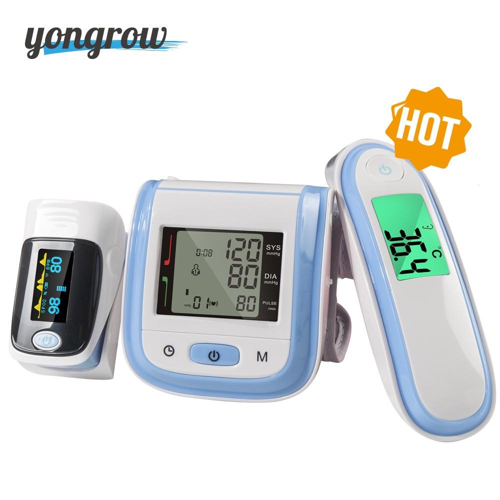 Yongrow Digital Fingertip Pulse Oximeter SpO2 Wrist Blood Pressure Monitor Ear Infrared Thermometer Family Health Care Oxygen PR yongrow fingertip pulse oximeter