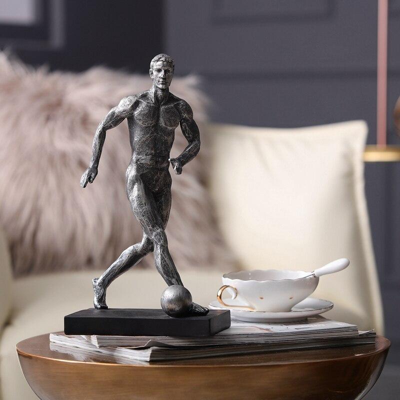 Gymnaste moderne jouant au Football Sculpture résine Statue sport Figure Figurines décoration de la maison accessoires artisanat