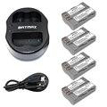 Batmax 4 unids baterías recargables en-el3e en el3e enel3e + dual usb cargador para nikon enel3e en el3e d50 d30 d90 d70 d70s D300