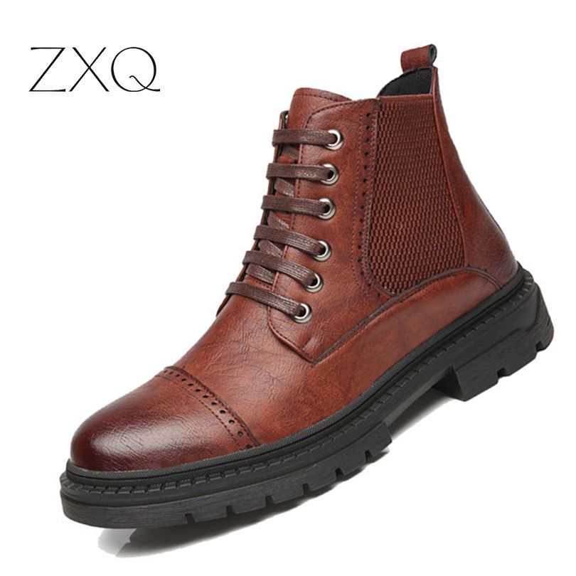 Top Quality Men Fashion Ankle Boots Lace Up Microfiber Leather Vintage Brogue College Style Men Shoes Casual Chelsea Boots г н сычева русский язык 4 класс лучшие упражнения