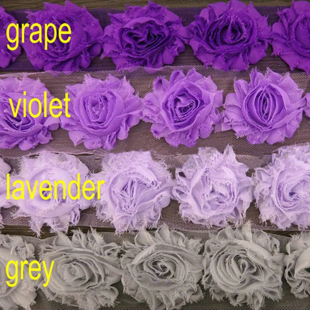 "DHL  30yards/lot 2.5"" Shabby Chiffon Rose Flowers Trim Kids And Children Chiffon Frayed Flowers Girls DIY Hair Accessories"