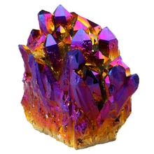 Natural Titanium Coated Crystal Quartz Purple Cluster Geode Druzy Home Decoration Gem Stone Specimen