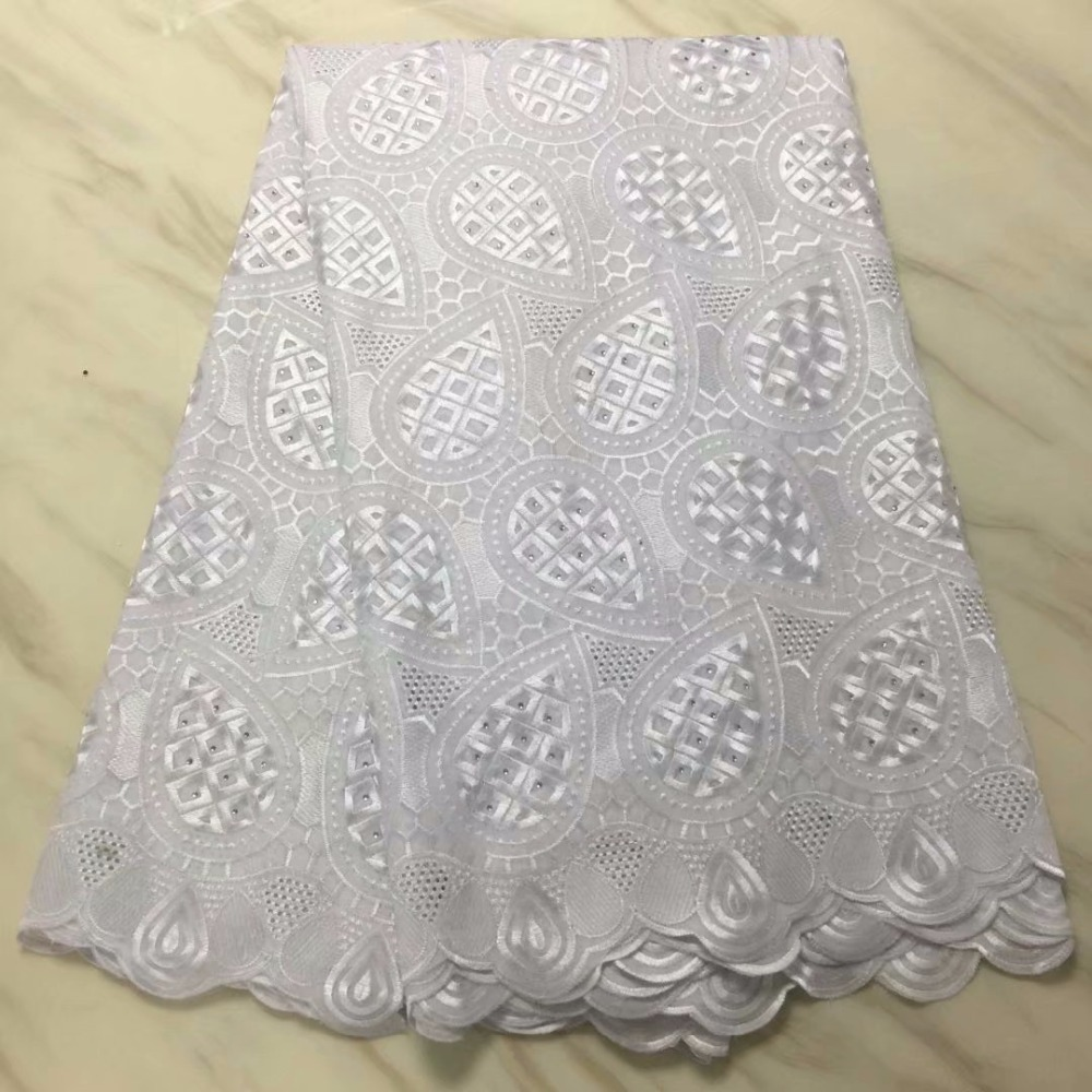 Pure white 2018 High Quality For Women And Men Cotton Dry Lace Fabric Swiss Voile With