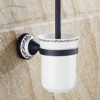 Free Shipping Wall Mounted Toilet Brush Holder Set Black Bathroom Toilet Bathroom Hardware Accessories Ceramic Cup
