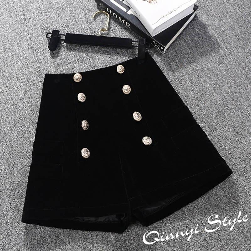2018 New Autumn Winter Velvet   Shorts   Women Elegant High Waist   Short   Pants Ladies Office Work Double-breasted Boots   Shorts