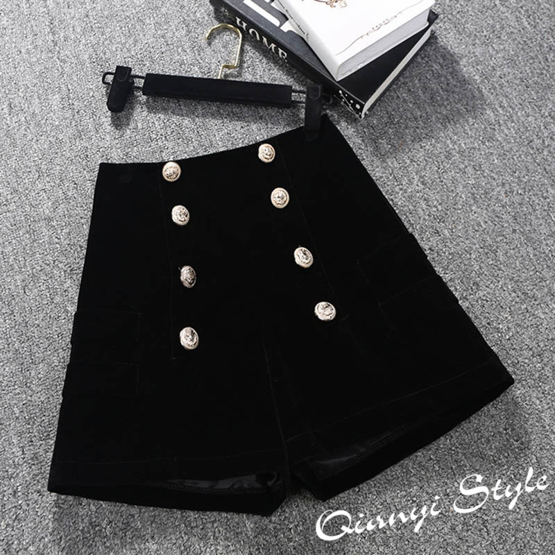 2019 New Autumn Winter Velvet Shorts Women Elegant High Waist Short Pants Ladies Office Work Double-breasted Boots Shorts