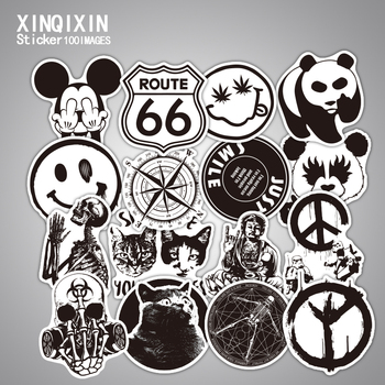 цена на 100pcs Mixed black and white stickers kids Home decor on laptop sticker decal fridge skateboard doodle stickers toy