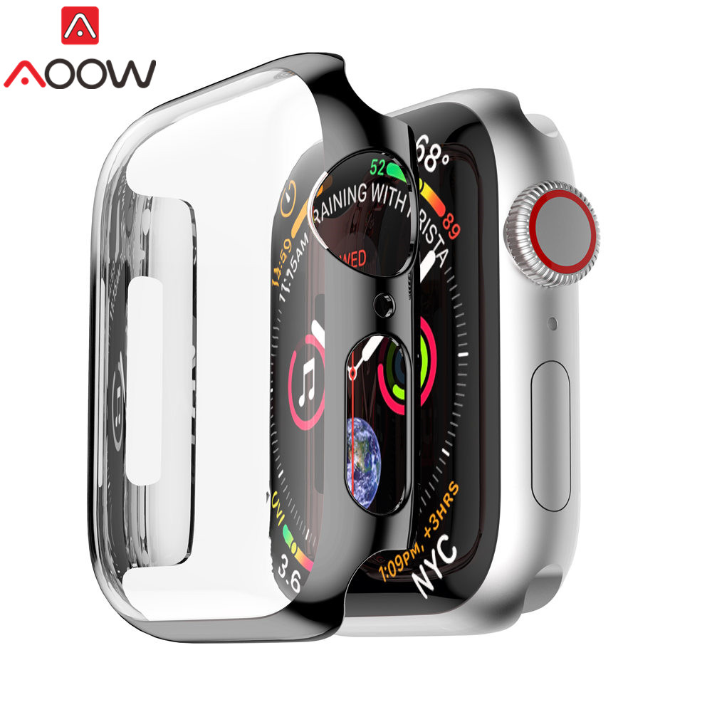 Ultra-thin Screen Protective Case For Apple Watch 38mm 42mm 40mm 44mm Plating PC All-around Protection Cover For Iwatch 1 2 3 4