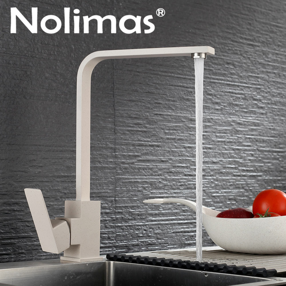 SUS 304 stainless steel Deck Mounted Kitchen Faucet Faucets Beige paint Spool Mixer Water Tap Hot And Cold Double Control Faucet kitchen tap sus 304 stainless steel faucets beige paint spool mixer water faucet hot and cold double control ceramic plate spool