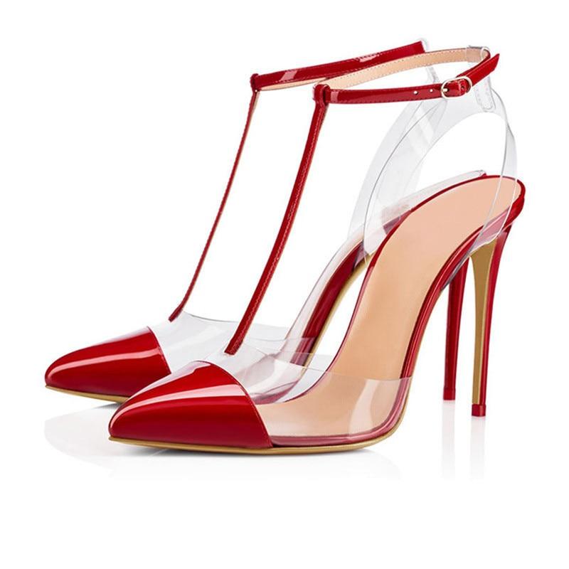 T 19ss Pointu De Pic Sexy Pvc As as Banquet Verni À Cuir En Sangle Pic Hauts Bout Femme Chaussures Sandales Talons Transparent Stilettos Dame Rivets Partie Rq7CqrwY