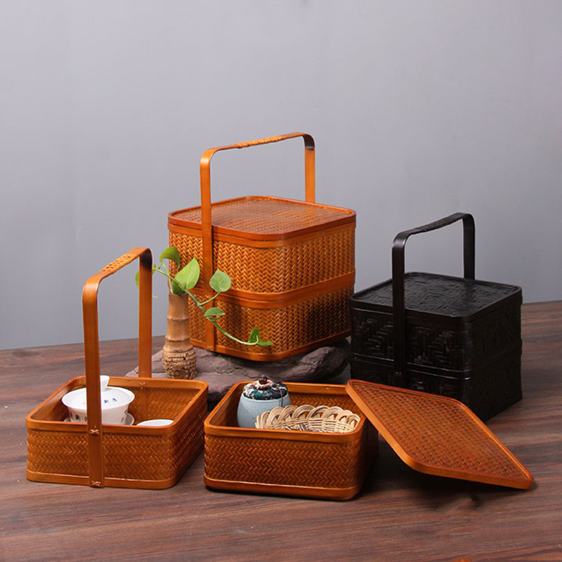 Janpen Style Take Out Bamboo Container For Tea Set Nuts Fruit Lunch Picnic Gift Box For