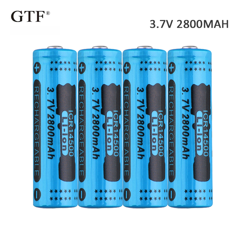 4pcs 3.7V 2800mah <font><b>14500</b></font> <font><b>Li</b></font>-<font><b>ion</b></font> Battery rechargeable battery 14450 battery For RC Toy shaver LED light powerbank remote control image