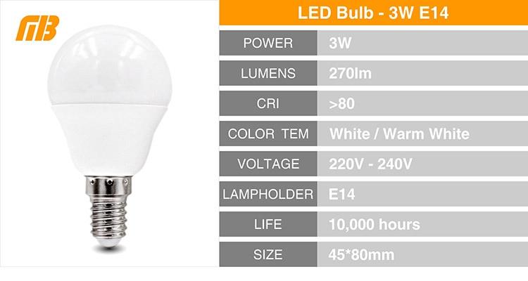 MingBen] LED Bulb Lamps E27 E14 220V Light Bulb Smart IC Real Power